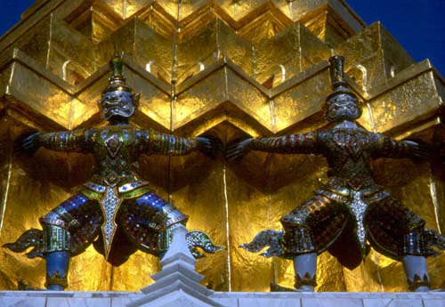 These glittering guardians wrap around a chedi in front of the Royal Pantheon.