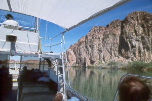 cruising along on the Colorado River on a jetboat